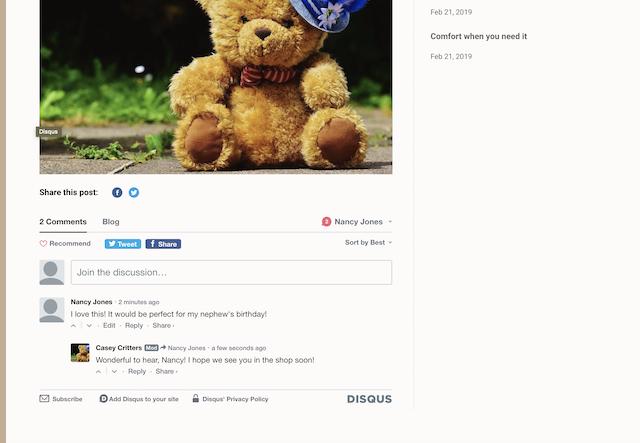 screenshot of a GoCentral Website Builder site demonstrating blog comments