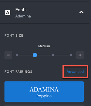Secondary Font Choices Interface Location
