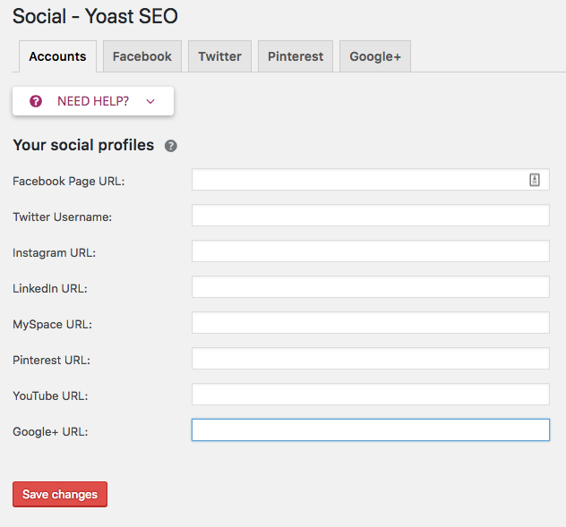 Social Profile Settings within the Yoast SEO Plugin