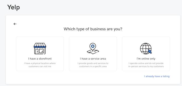 screenshot of starting the Yelp integration