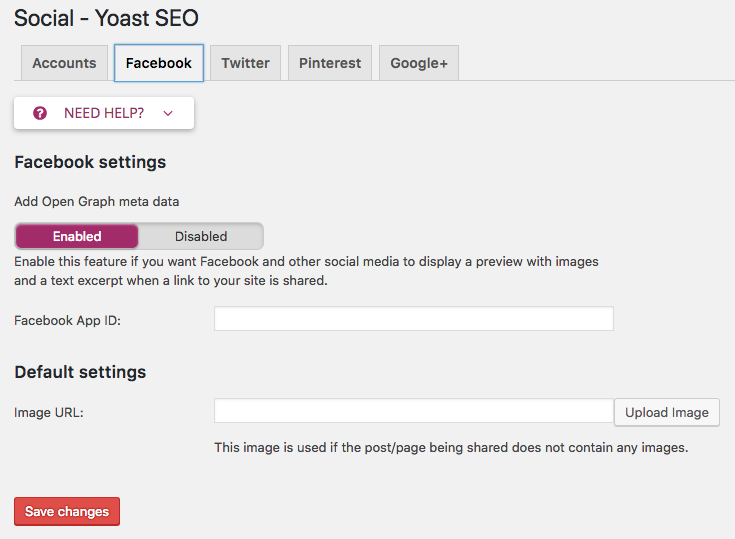 Yoast Facebook Settings for Open Graph