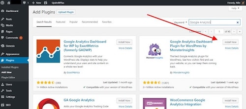 Add Google Analytics WordPress Plugin