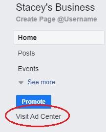 Visit Ad Center Link For Facebook Pages