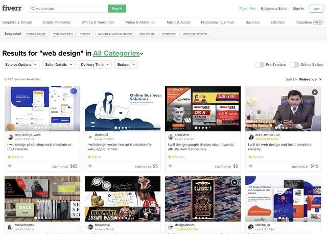 Advertising Web Design Fiverr Search