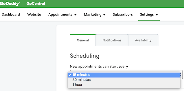 screenshot of how to set appointment intervals in GoCentral Online Appointments