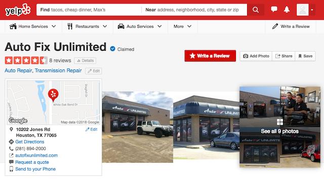 screenshot of a Yelp listing