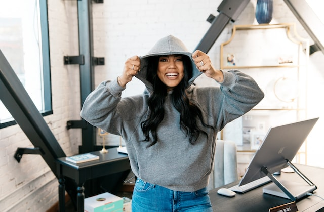 Ayesha Curry Laughing with Hood Up
