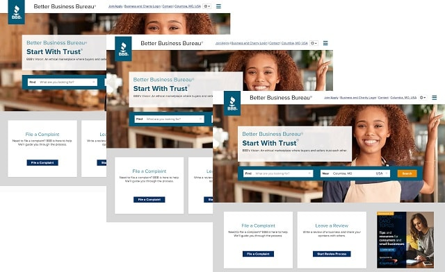Sito Web Better Business Bureau su diversi browser