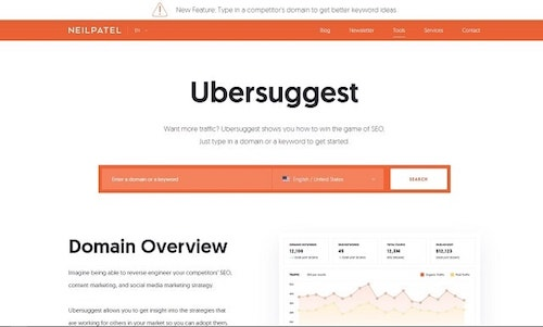 Blog SEO Ubersuggest Homepage