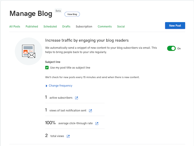 screenshot of how to set up blog subscribe