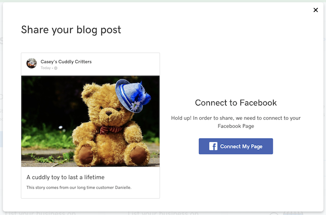screenshot showing how to connect GoCentral blog to a Facebook Page