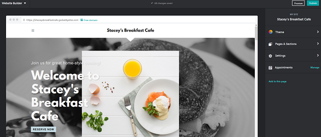 Changing GoDaddy Websites + Marketing Theme Option for Restaurant Website