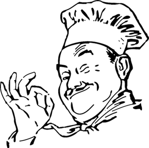 Chef Winking Illustration Represents Delegating Website Care Services