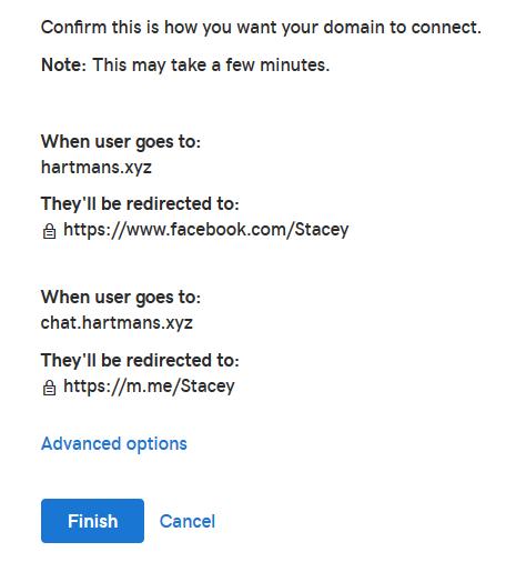 GoDaddy Domain Forwarding Confirmation Screen