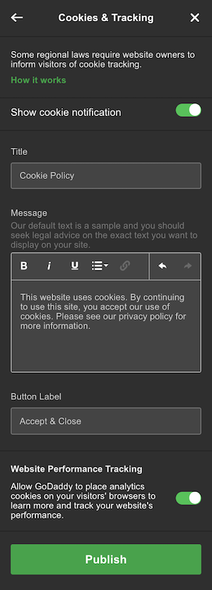 screenshot of how to customize your cookie notification in GoCentral