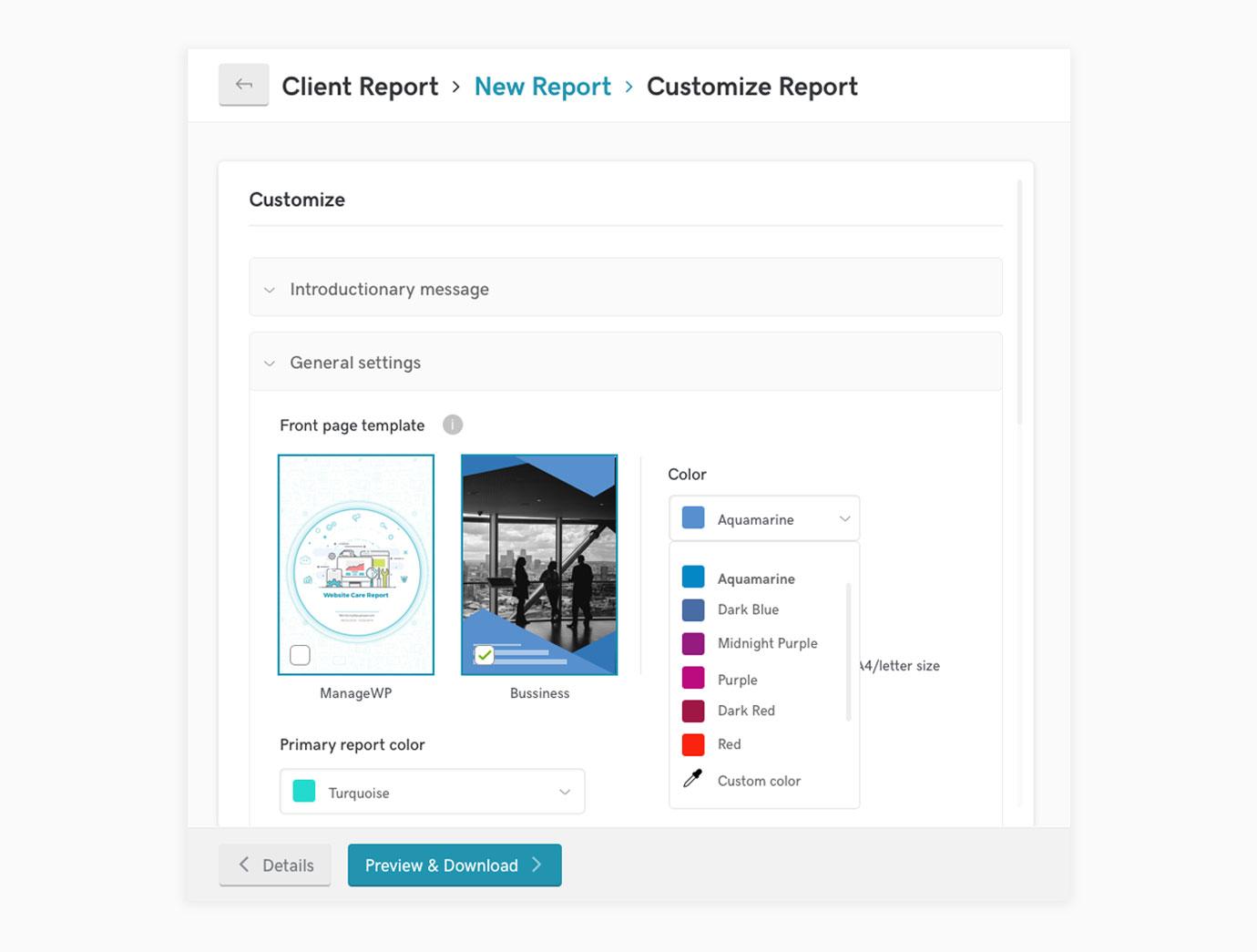 Client Report customization