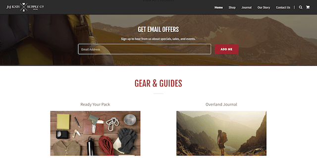 Create Online Store JJ Kniv Website Email Signup]