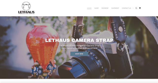 Create Online Store Lethaus Camera Strap Website Homepage