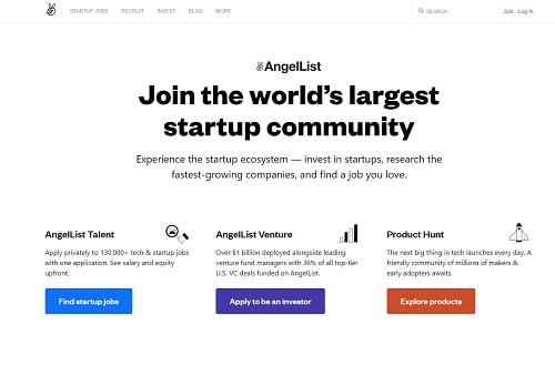 Crowdfunding Platforms AngelList Homepage