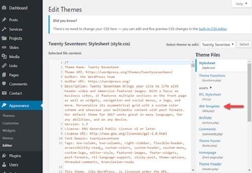 custom 404 Page WordPress Editing