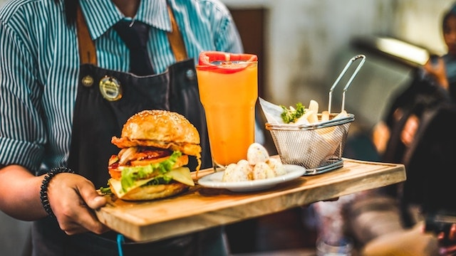 Dad Gifts Server Holding Burger on Tray