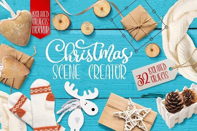 Decorate eCommerce Shop Christmas Scene Blue