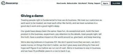 Defining Company Values Basecamp