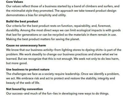 Defining Company Values Patagonia