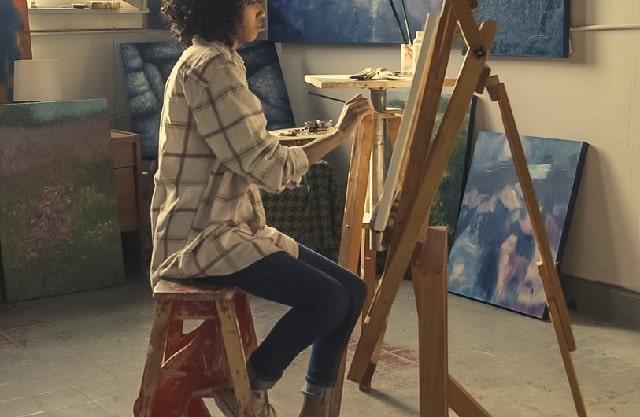Developer Stress Woman Painting Canvas
