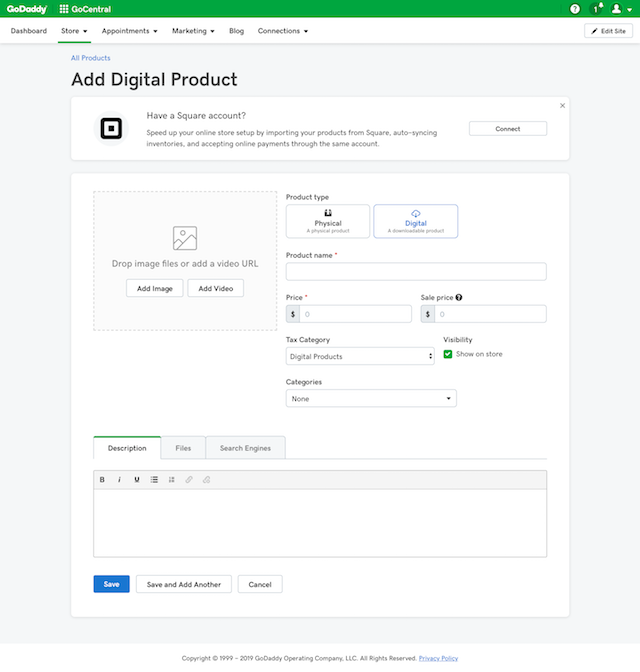 screenshot of UI to add a digital product in GoDaddy GoCentral Online Store
