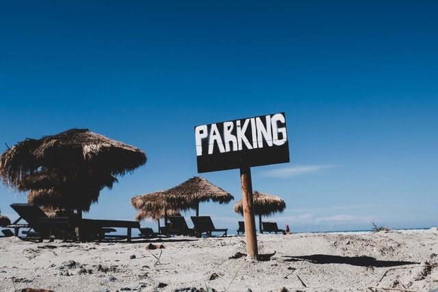 Parking Sign On Beach