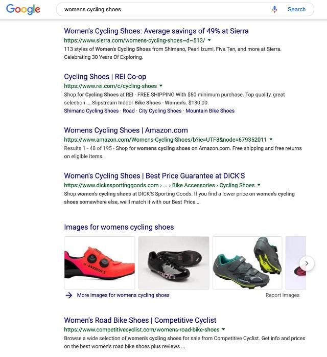 Esempio di scarpe da ciclismo da donna SEO eCommerce