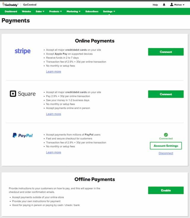Ecommerce Website Builder GoCentral Payments