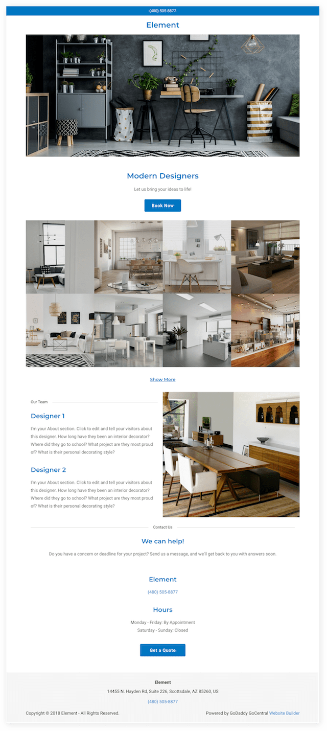 "screenshot of the new GoCentral Website Builder Theme called ""Element"""