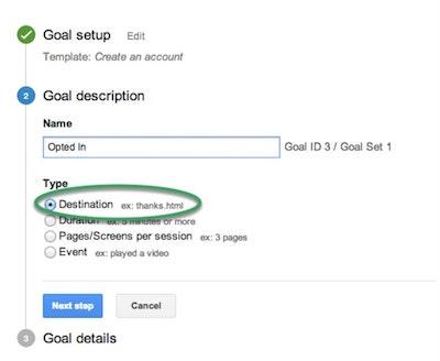 Email Analytics Create Goal