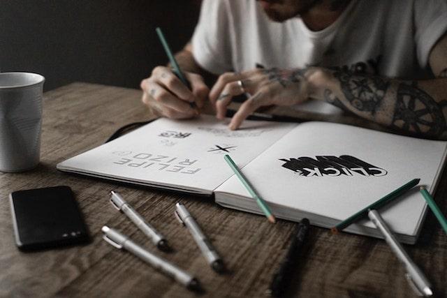 Email Design Graphic Designer Sketching Ideas