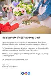 Email Showing Open For Curbside And Delivery Orders And Flowers