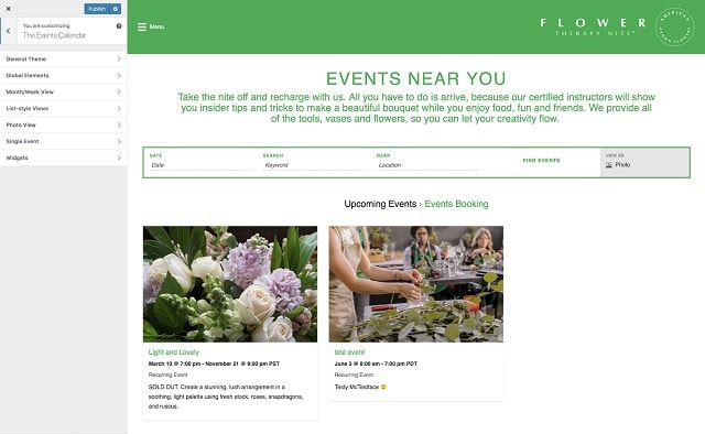 Event Booking With WordPress Customizer