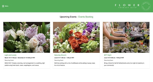 Event Booking With WordPress Flower Therapy Nite