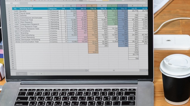 Excel for Beginners Spreadsheet on Laptop
