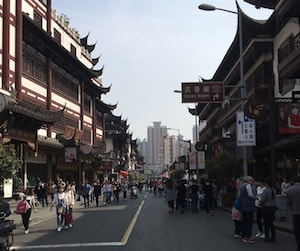 Expat in Shanghai Streetscape with Crowd