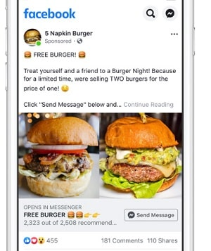 5 Napkin Burger Advertisement On A Mobile Device