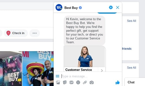 Screenshot Showing Best Buy Using Facebook Messenger For Customer Support