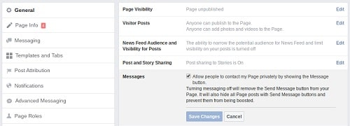 Image Showing Where To Enable Facebook Messenger for Business