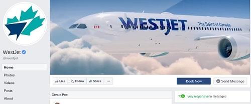 WestJet Facebook Messenger Page