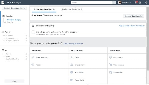 Facebook Reach Ads Create New Campaign