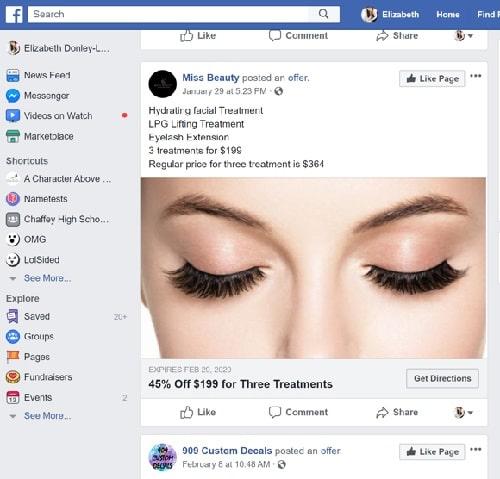 Facebook Reach Ads Miss Beauty Example