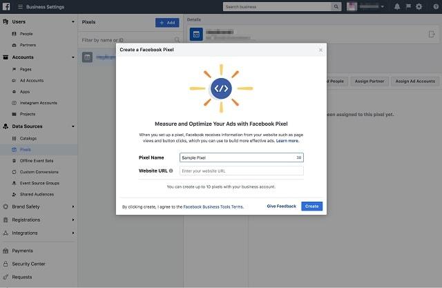 Facebook Retargeting Create Pixel