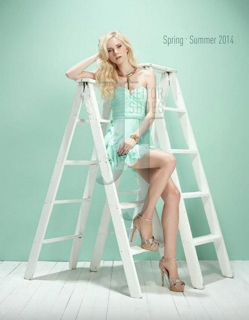 Fashion Lookbook JJ Heitor Girl Leaning on Ladder
