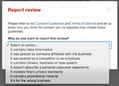 Flag Yelp Review Report Drop Down Menu